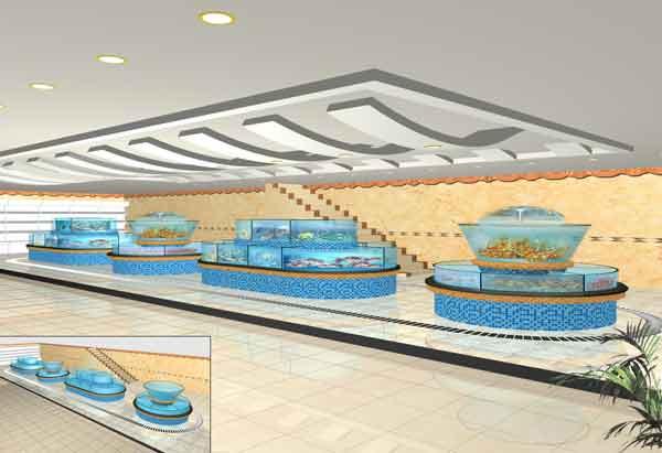 海鲜池-鱼缸设计制作; 海鲜池; 海鲜池展示-合肥董氏兄弟水族