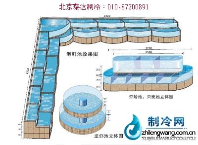 海鲜鱼缸平面图:; 海鲜池效果图_制冷网; 海鲜大礼包矢量图